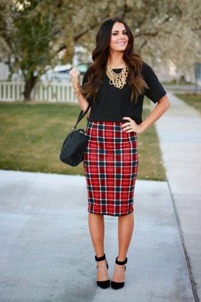 black t shirt red plaid bodycon midi skirt