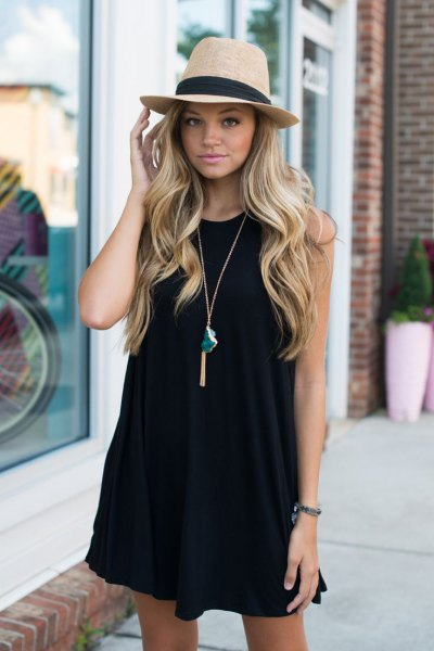black tank swing dress straw hat