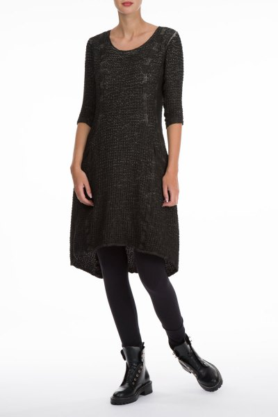 black three quarter sleeve linen dress lace details