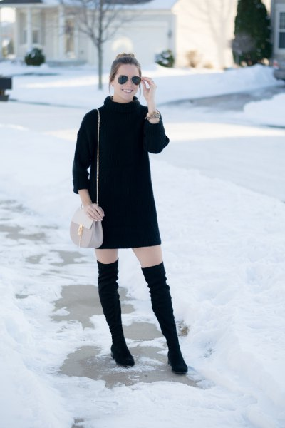 black turtleneck knit sweater mini dress thigh high boots