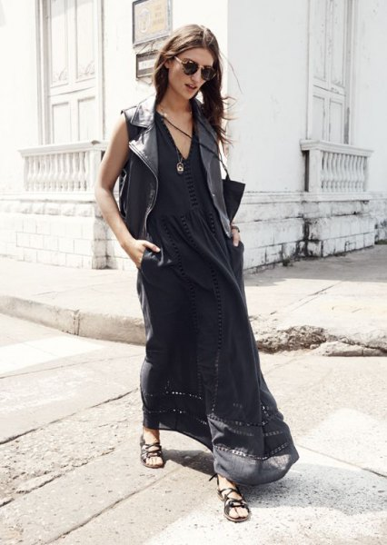 black v neck breezy maxi dress outfit