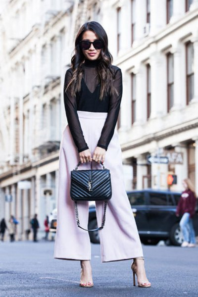 black vest top white wide leg pants