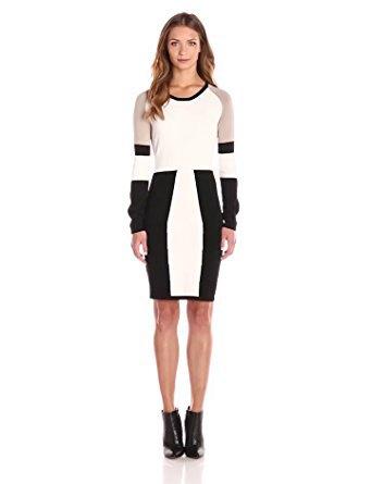 black white grey long sleeve dress