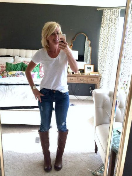 black wide calf boots white tee blue jeans