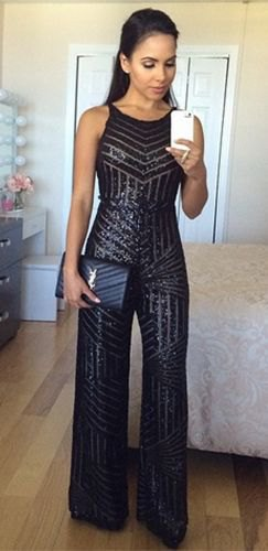 black wide leg sparkly jumpsuit