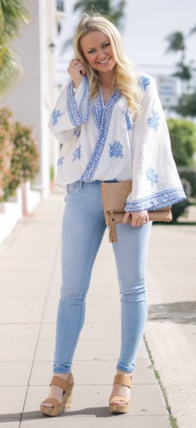 blue and white japanese style draped top