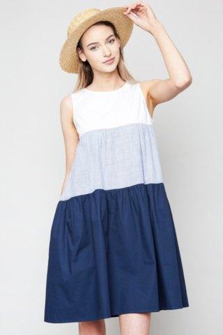 blue color block swing dress
