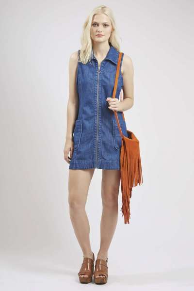 blue denim collar shift dress