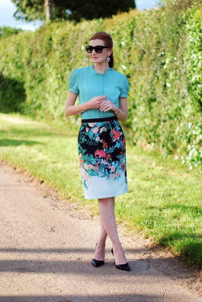 blue puff sleeve blouse floral printed pencil skirt