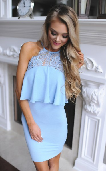 blue ruffle top dress lace details