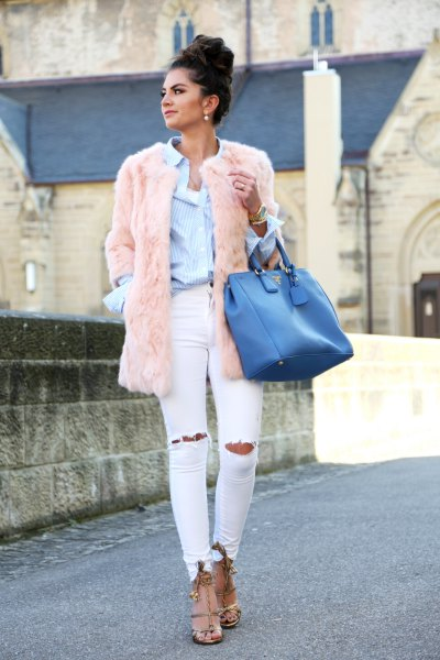 blue shirt pink faux fur coat