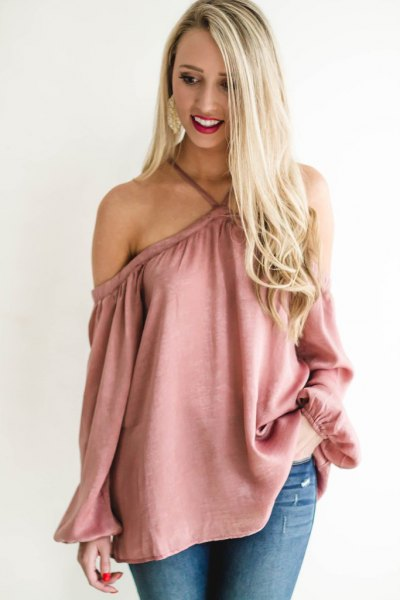 blush pink criss cross neck off shoulder blouse