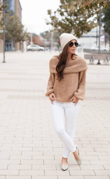 blush pink folded shoulder boat neck knit sweater
