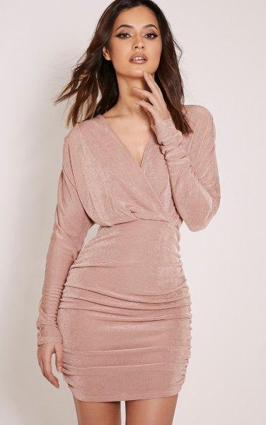 blush pink gathered waist v neck ruched dress