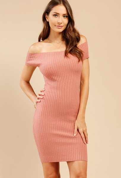 blush pink ribbed off shoulder bodycon dress