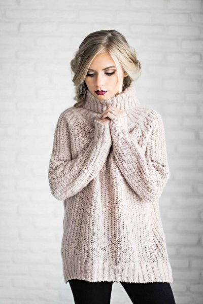 blush pink turtleneck chunky sweater