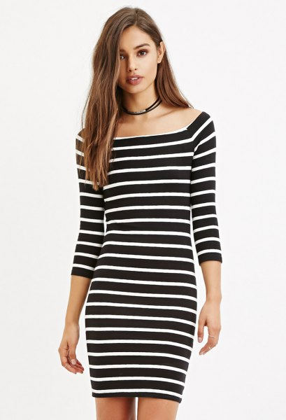 boat neck black and white striped bodycon dress