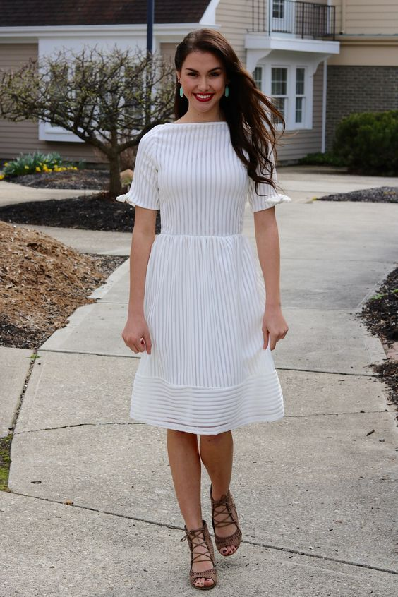 boat neck dress white stripes