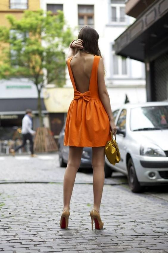 bow back dress orange is black