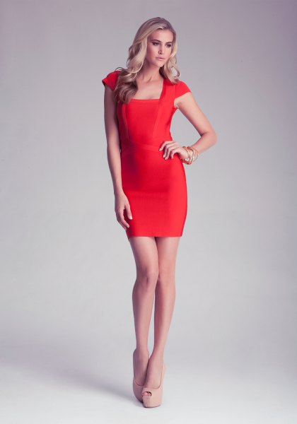 bright red square neck cap sleeve bodycon dress