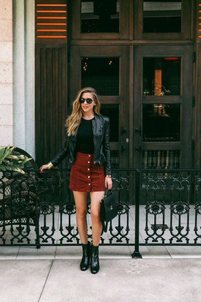brown corduroy skirt black leather jacket