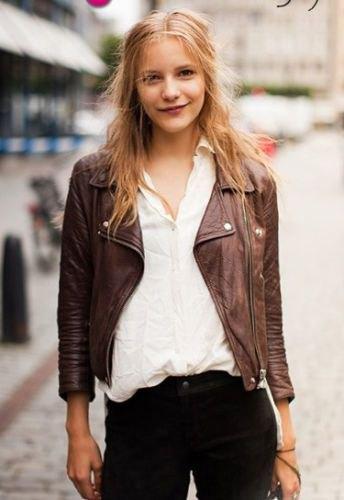 brown jacket white linen shirt black jeans