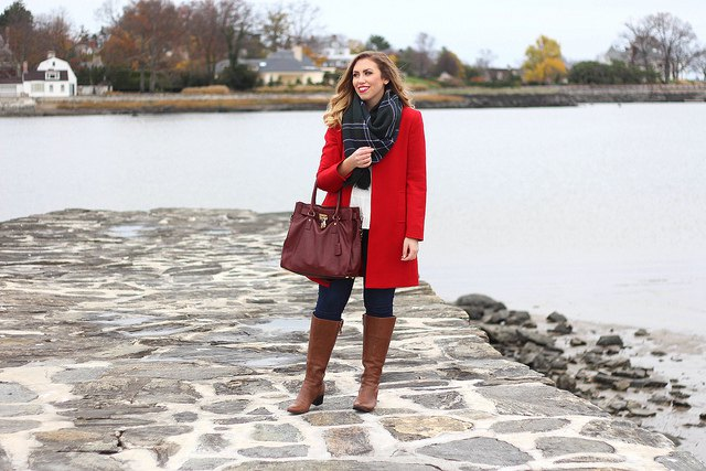 brown leather boots bright red long wool coat