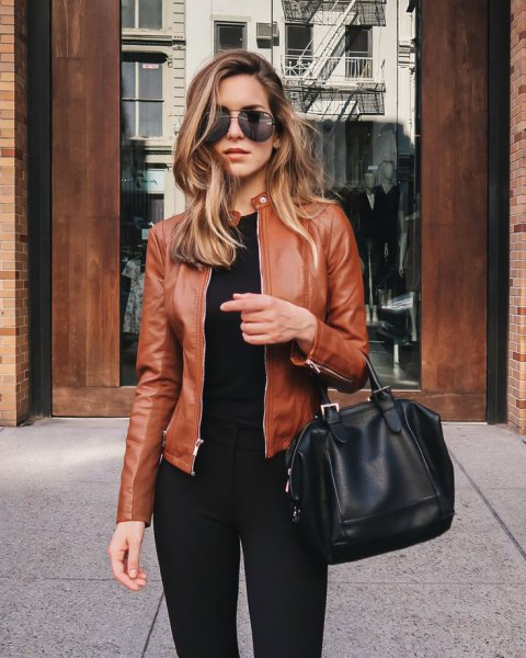 brown leather jacket all black outfits