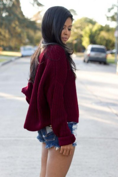 burgundy oversized knit sweater ripped denim shorts