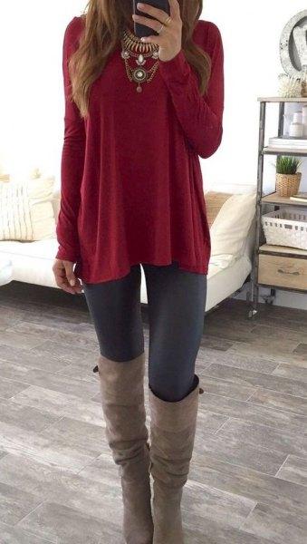 burgundy tunic top black leggings