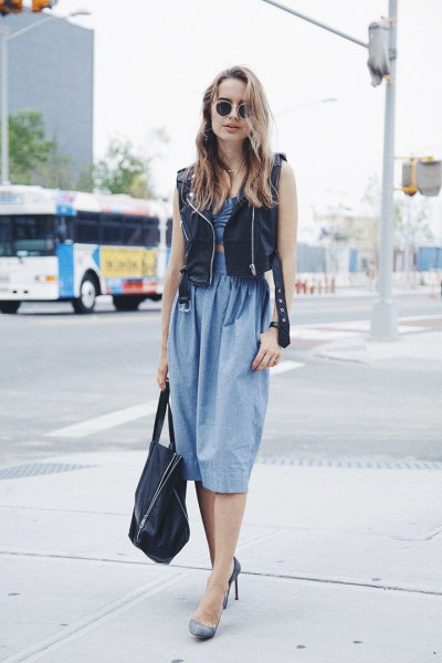 chambray gathered waist relaxed fit midi dress