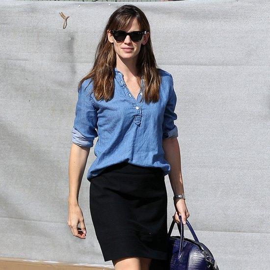 chambray popover shirt black bodycon mini skirt