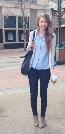 chambray shirt ivory cardigan