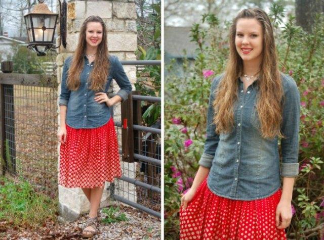 chambray shirt red pleated polka dot skirt