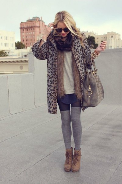 cheetah jacket grey thigh high socks ankle boots
