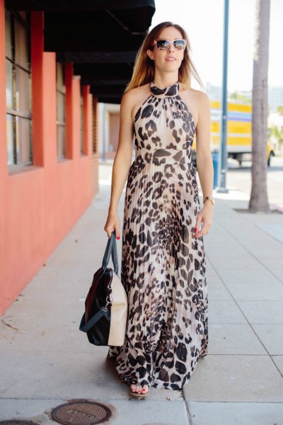 chiffon halter neck leopard print long flowy dress