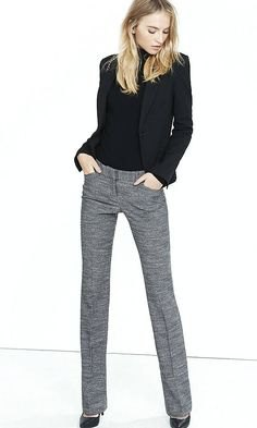 cigarette cut grey tweed pants black blazer