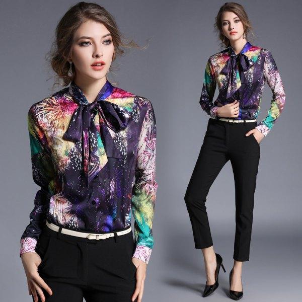 colorful floral printed ribbon bow rayon shirt