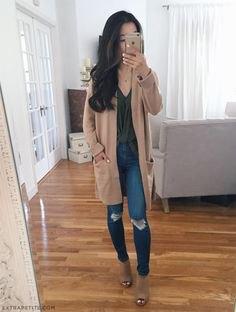 crepe long cardigan grey silk top jeans