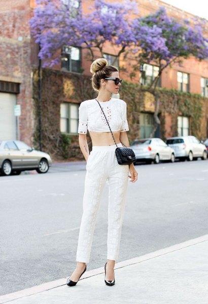 crop top white linen pants