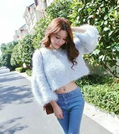 cropped fuzzy sweater jeans