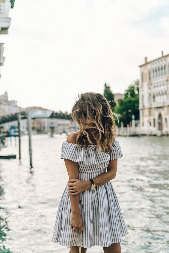 black and white striped dress over the shoulder ruffle
