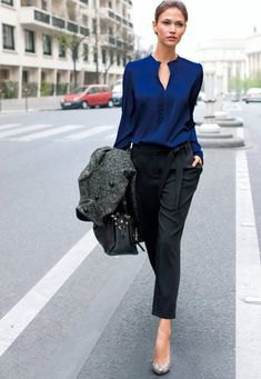 dark blue silk shirt black chinos