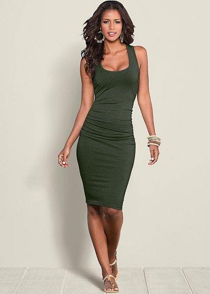 dark green ruched tank bodycon dress