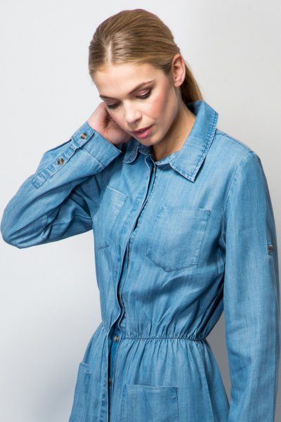 denim gathered waist maxi jacket dress