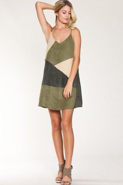 diagonal color block suede slip dress