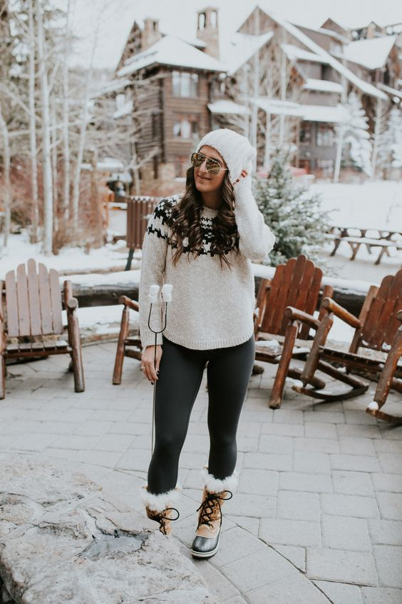fur lined boots winter sweater