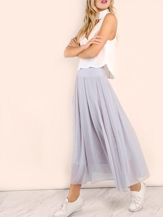 elastic waist skirt grey maxi