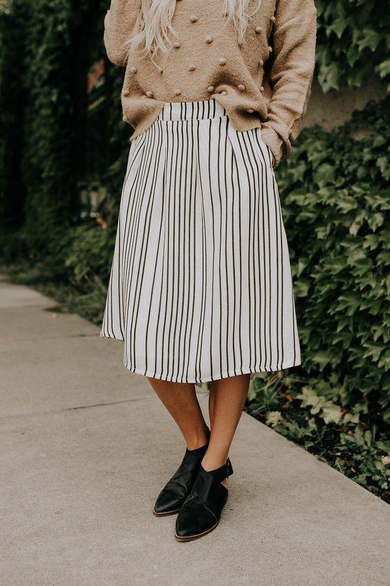 elastic waist skirt stripes