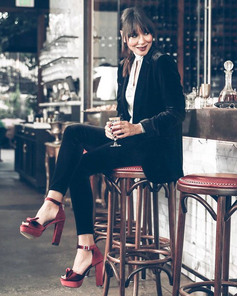 red platform heels satin